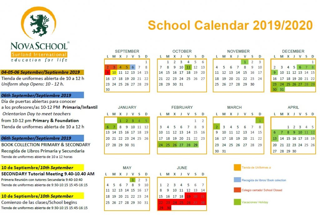 Calendario Escolar 2020 Malaga.Calendario 2019 2020 Novaschool Sunland International