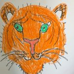 "- ""Who is the beast? Jungle Animal Painting"" pastel drawing inspired by Rouseeau and Franz Marc (Y7)"
